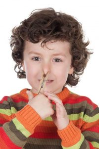 Child with novel approach to stopping nose bleeds